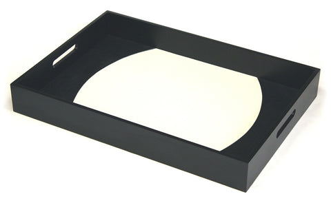 Mountain Woods Black and White Zuma Leatherette Two Tone Serving Tray - 23""