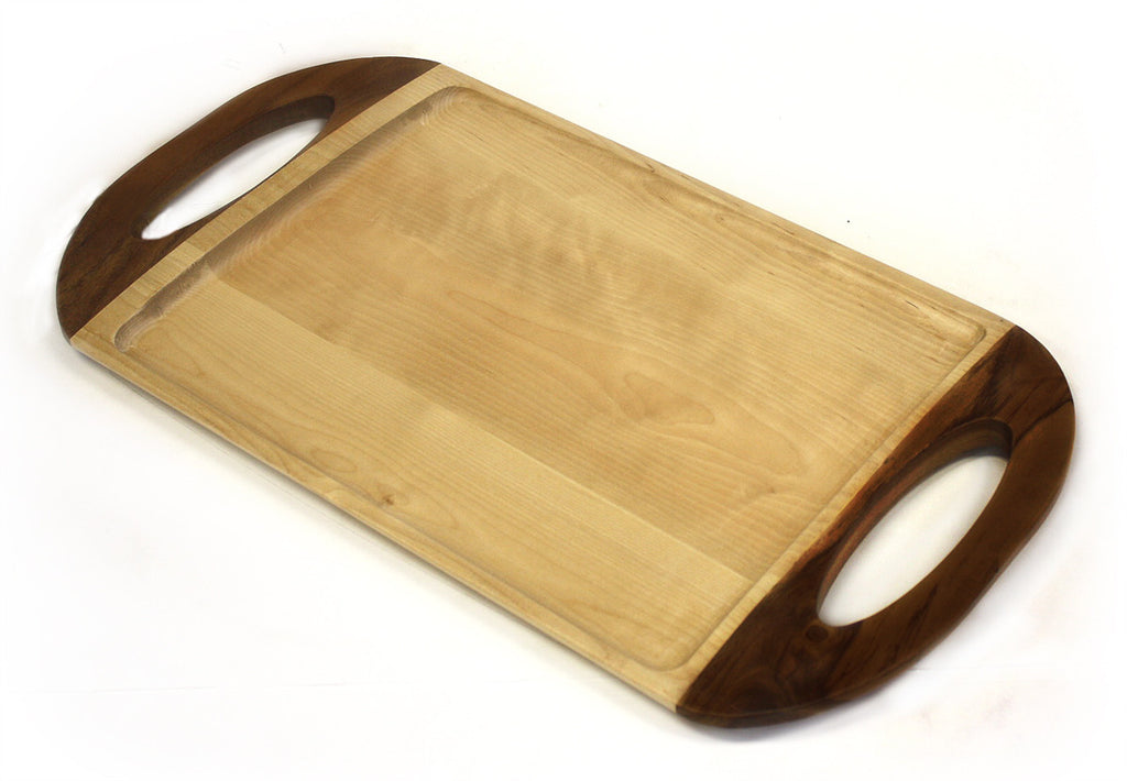 "22"" X 11.5"" Maple and Walnut Serving Tray"