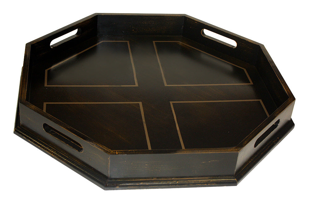 "Mountain Woods 22"" Antique Black Octagon Ottoman Luxury Wooden Serving Tray w/ Handles"