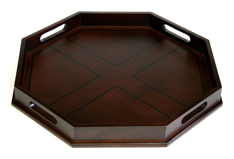 "Mountain Woods 22"" Octagon Ottoman Luxury Wooden Serving Tray"