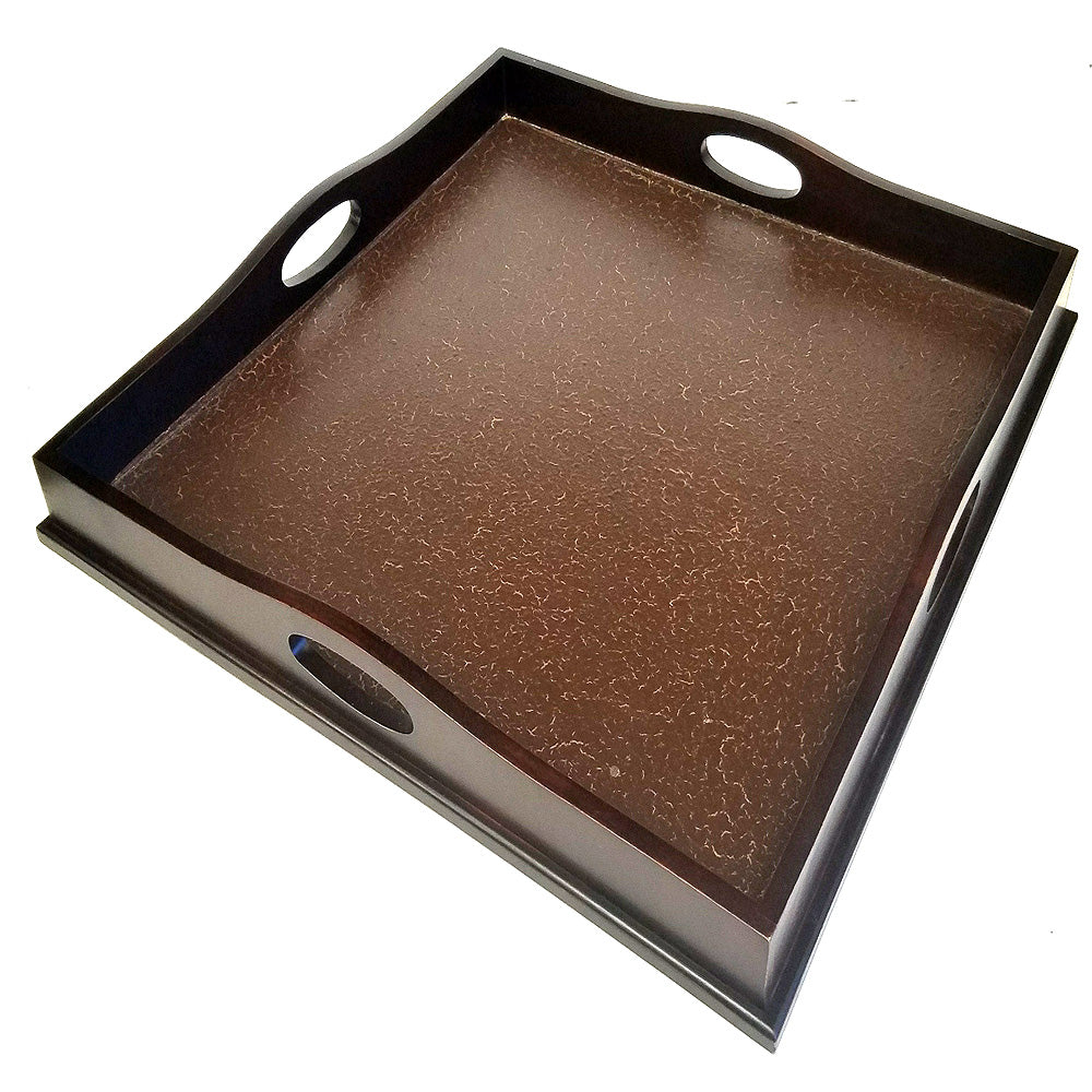 "23"" Square Ottoman Luxury Wooden Serving Tray with Antique Crackled finish bottom, Hand Finished in USA with some Variation"