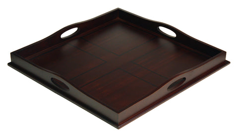 "Mountain Woods 23"" Square Ottoman Luxury Wooden Serving Tray"