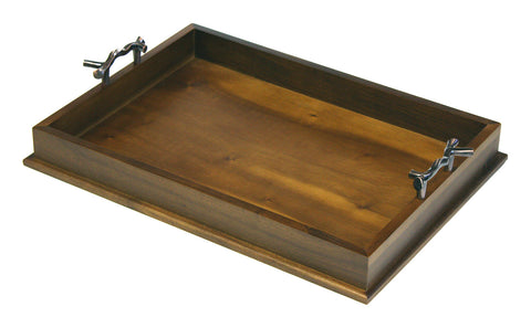 Mountain Woods Brown Serving Tray with Bronze Handle 1