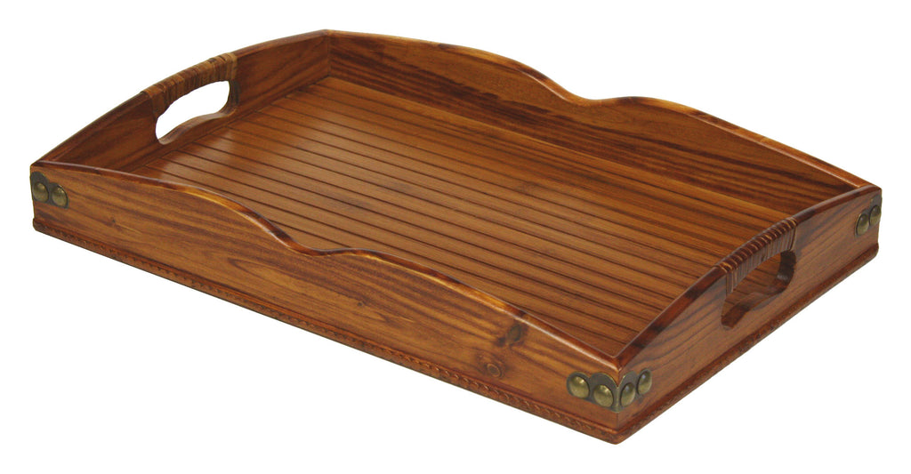 Mountain Woods Valencia Antique Style Hardwood & Bamboo Serving Tray w/ Rattan and Metal Accents