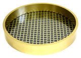 Mountain Woods Black and Golden Round Wooden Serving Tray with Glass Bottom 1