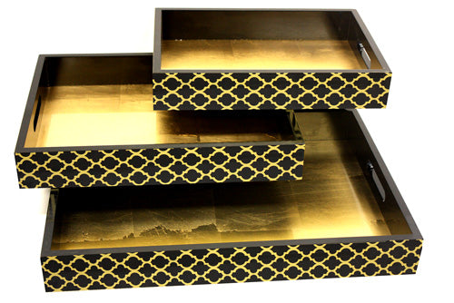 3 Set Victorian Style Wooden Serving Trays