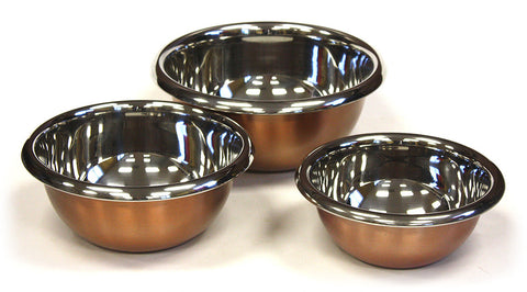 3 Piece Stainless Copper Mixing Bowl Set