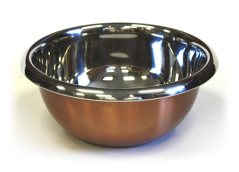 Premium Stainless Steel Mixing Bowl w/ Copper Plated Exterior by ZUCCOR - 4.2 qt. / 4000 ml capacity