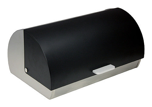 ZUCCOR Genoa Brushed Stainless Steel Bread Box / Storage Box w/ Black Polystyrene Front Cover