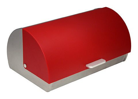 ZUCCOR Genoa Brushed Stainless Steel Bread Box / Storage Box w/ Red Polystyrene Front Cover
