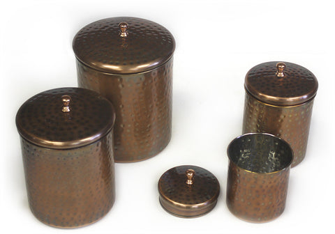 Zuccor 4 Piece Stainless Antique Copper Canister Set - 9''