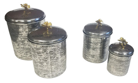 Zuccor Set of 4 Hand-Textured Stainless Steel Canisters W/ Brass Butterfly Ornament