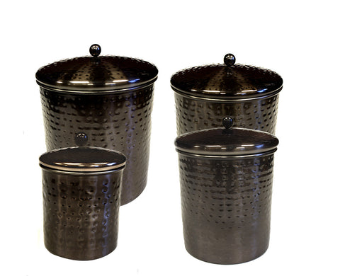 Zuccor 4 Piece Stainless Steel with Hammered Black Nickle Plated Canister Set - 10''