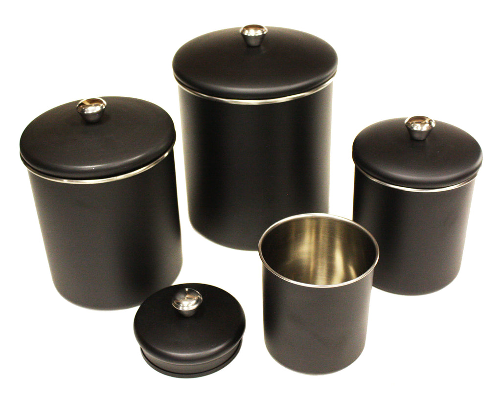 Zuccor Set of 4  Stainless Steel Matte Black Canister Set