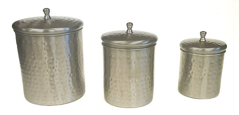 3 Piece Stainless Steel With Hammered Nickle Plated Exterior Canister Set