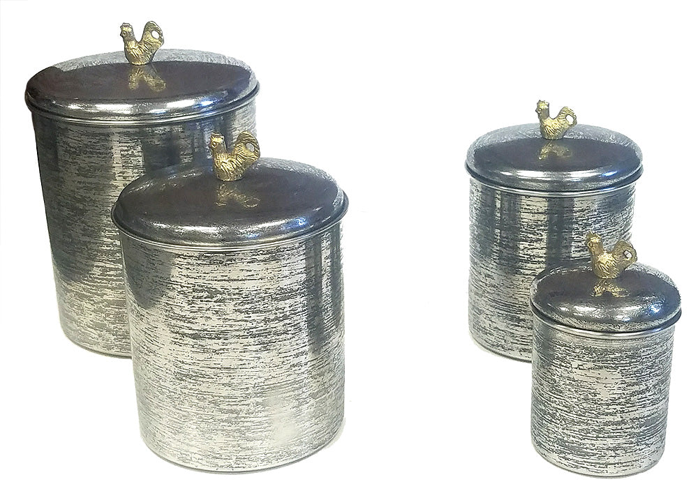 Zuccor Set of 4 Hand-Textured Stainless Steel Canisters W/ Brass Rooster Ornament
