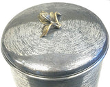 Zuccor Set of 4 Hand-Textured Stainless Steel Canisters W/ Brass Tulip Ornament