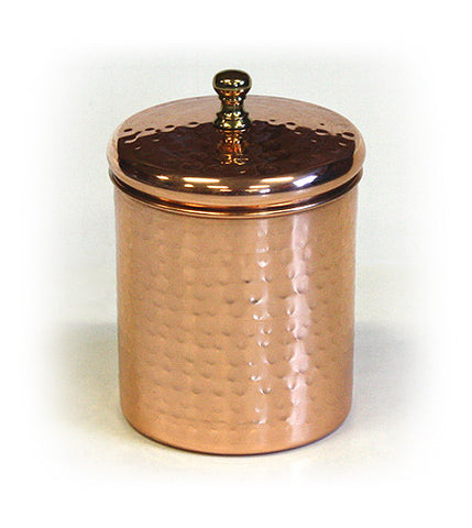 Stainless Steel Canister w/ Hammered Copper Plated Exterior by ZUCCOR - 0.75 quart / 700 milliliter capacity