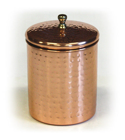 Stainless Steel Canister w/ Hammered Copper Plated Exterior by ZUCCOR - 1.4 quart / 1300 milliliter capacity