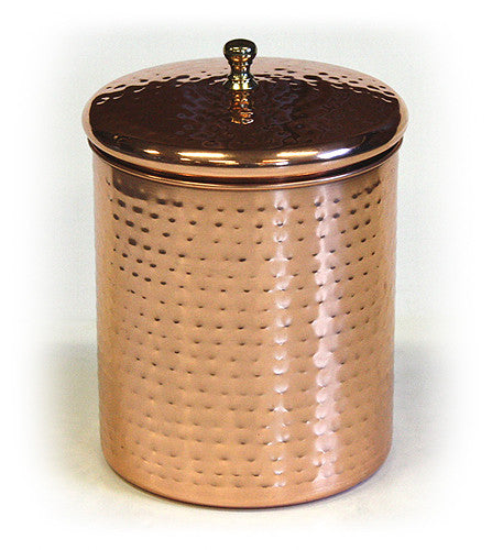 Stainless Steel Canister w/ Hammered Copper Plated Exterior by ZUCCOR - 2.5 quart / 2350 milliliter capacity