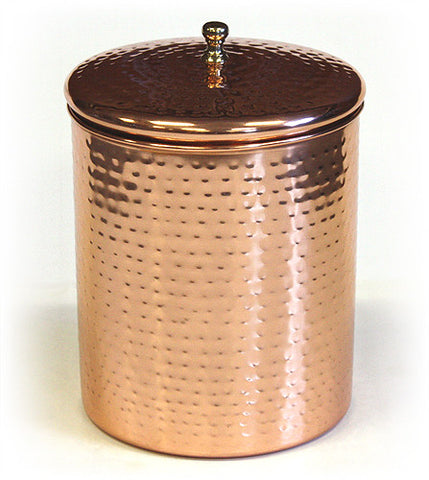 Stainless Steel Canister w/ Hammered Copper Plated Exterior by ZUCCOR - 4 quart / 3700 milliliter capacity