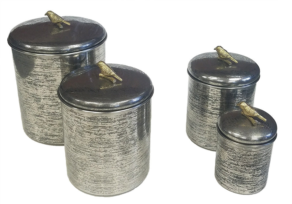 Zuccor Set of 4 Hand-Textured Stainless Steel Canisters W/ Brass Bird Ornament