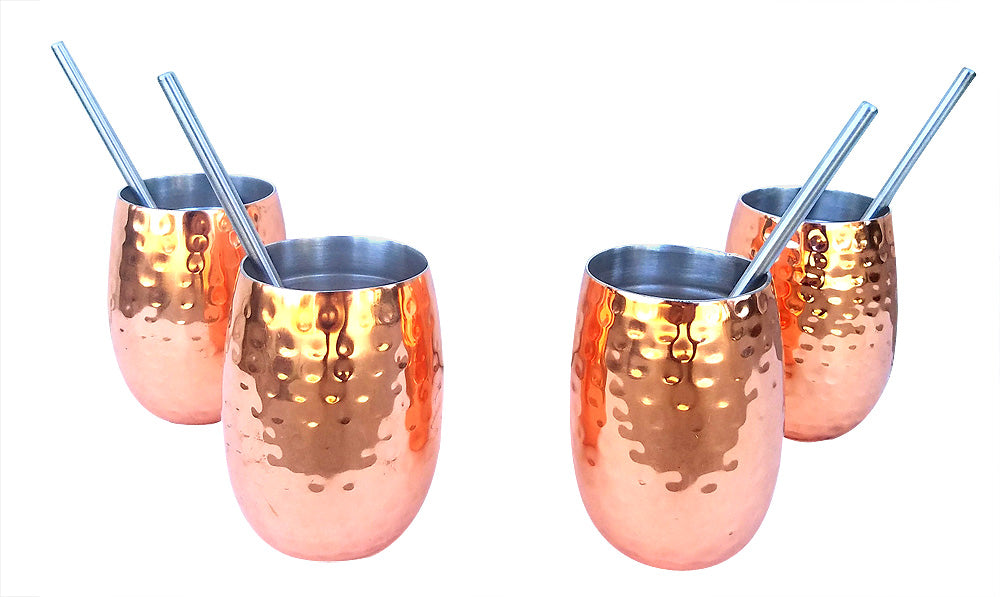 4 Pack Instulated Copper Cocktail Set Plust 4 Stainless Streel Straws