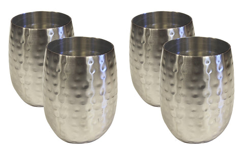 4 Set Double Wall Hammered Stainless Steel Tumbler Satin Nickle Finish
