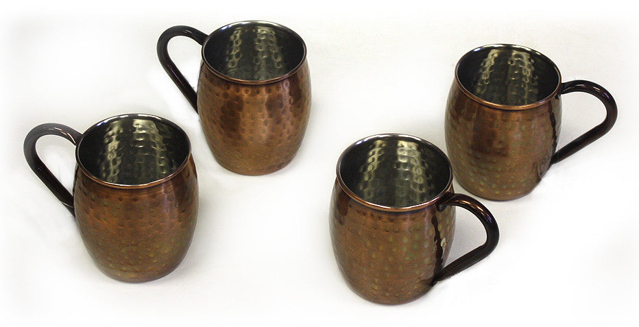 4 Piece Stainless Antique Copper Moscow Mule Mug