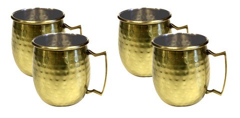 Zuccor Stainless Steel Moscow Mule Mug W/ Hammered Gold Plated Exterior Set Of Four