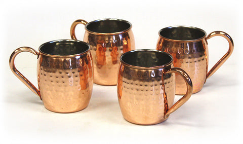 4 Piece 18 ounce Hand-Hammered Copper Plated Stainless Steel Moscow Mule Mug Set by ZUCCOR