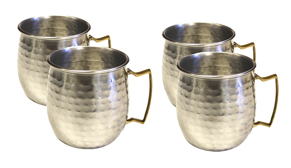 4 Set Hammered Nickel Plated Stainless Steel Moscow Mule Mug