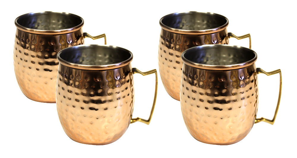 4 Pieces Hammered Copper Exterior Stainless Steel Moscow Mule Mug