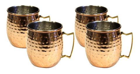 Zuccor Stainless Steel Moscow Mule Mug W/ Hammered Copper Exterior Set Of Four