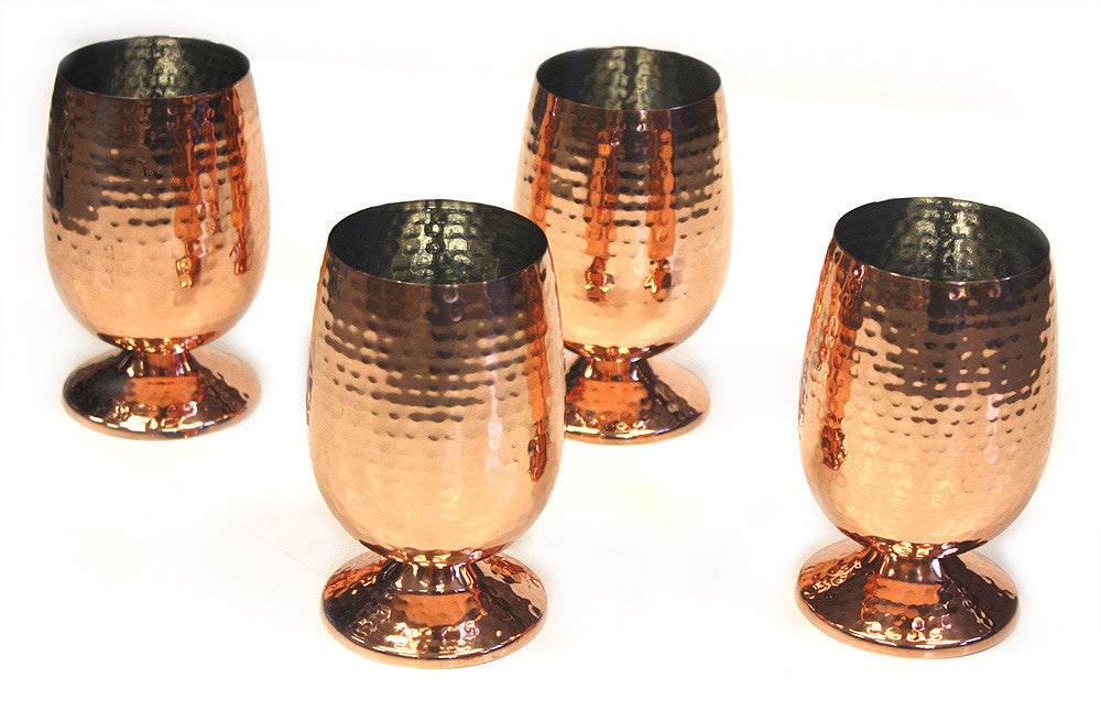 ZUCCOR 4 Piece 18 ounce Stainless Steel  Mug w/ Base and Hand-Hammered  Copper Plated Exterior