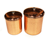 4 Piece Premium Stainless Steel w/ Hammered Copper Plated Exterior Canister Set by ZUCCOR