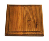 "Mountain Woods Brown Solid Teak Wood Cutting Board w/Juice Groove | Butcher Block | Wood Chopping Board | Carving Meat, Vegetables, Fruits - 10"" x 10"" x 1"""