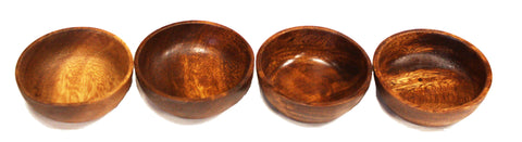 "Mountain Woods Set of 4 Dark Brown Round Artisan Acacia Wooden Bowl - 4"" Each"