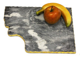 "Handmade Organic Marble server board with Gold finished Chiseled Edge, 12""X8.5"""