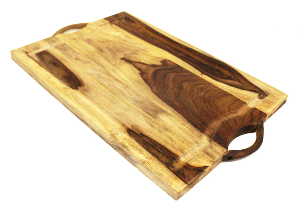 "Mountain Woods 24""X15""X1"" Sheesham Cutting Board or Serving Tray  W/Juice Groove and wood handle"