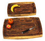 Mountain Woods Brown Extra Large Organic End-Grain Hardwood Acacia Cutting Board with Juice Groove - 20""