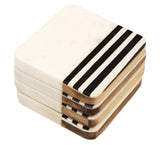 "Zuccor Natural Marble with inlaid Acacia Hard Wood Set of 4 Coasters,  4""X4"" X.5"""