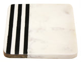 "Zuccor Natural Marble with inlaid Acacia Hard Wood Trivet, or serving Board, 7""X 6"""