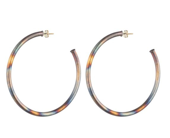 Large Burnished Everybody's Favorite Hoops by Sheila Fajl
