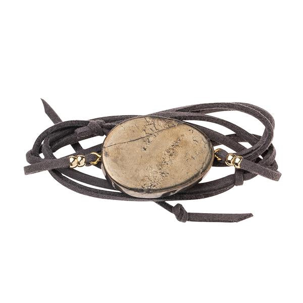 Suede and Stone Wrap Bracelet