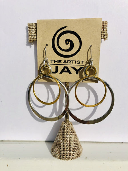 Mixed Metal Double Circle Earrings by The Artist Jay