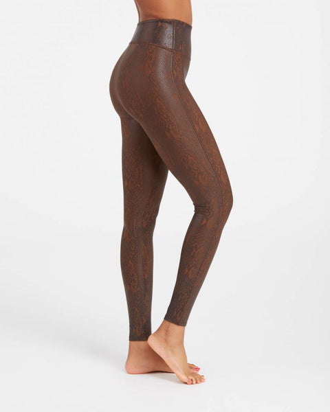 Faux Leather Snakeskin Leggings by Spanx