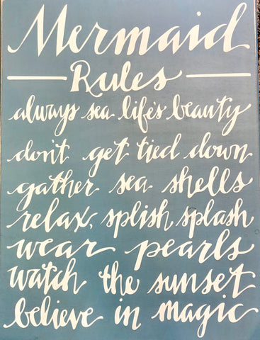 Mermaid Rules Box Sign