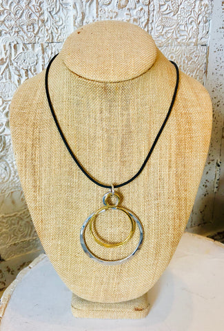 Double Circle Mixed Metal Necklace by The Artist Jay