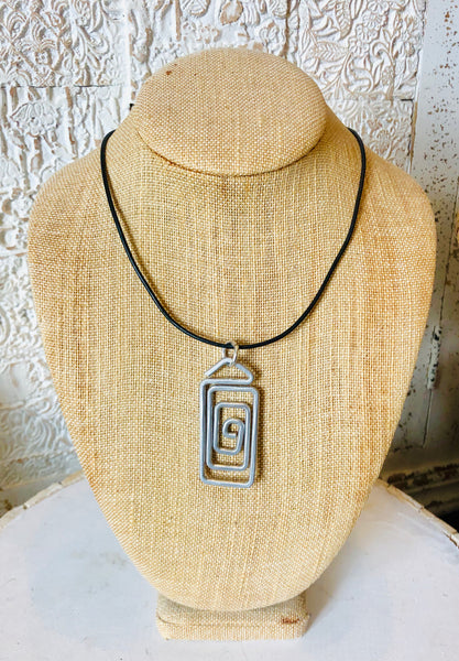Spiral Rectangle Pendant Necklace, by The Artist Jay
